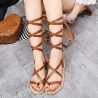 Sexy woman's high heel shoes flats 2017 new arrival fashion cross-strap summer sandals solid black shoes large size 34-43