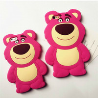 3D Cartoon Red Bear Soft Silicon Case For Iphone 5/ 5s/ 5c/ 6/ 6s; 6/ 6s Plus