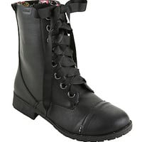 Black Floral Lined Wide Width Combat Boots