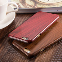 Vintage Luxury Hard Leather Skin Natural Wood Case For iPhone 6 /6S For iPhone 6 Plus /6S Plus Slim PC Wooden Grain Cover Case