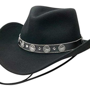 Harley-Davidson Mens Black Band with Willie G Skull Conchos and Chincord HD-196 Black Wool Felt Hat