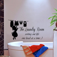 Wall Decal Quote Sorting Out Life One Load At a Time Vinyl Stikers Home Design Interior Laundry Decals For Bathroom Laundry Room Decor KI88