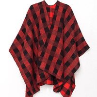 Red-Black Plaid Cozy Wrap