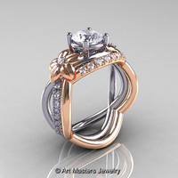 Nature Inspired 14K Two-Tone Gold 1.0 Ct White Sapphire Diamond Leaf and Vine Wedding Ring Set R180S-14KTTWRGDWS