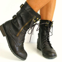 TRENDY LACE UP LADIES WOMANS VINTAGE MILITARY ARMY BOOTS FLAT GREY BROWN BLACK