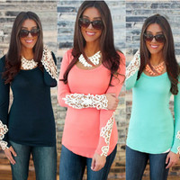 Women's Lace Hollow-out Long Sleeve T-shirt