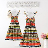 Summer Mother Daughter Dress Casual Boho Vestidos Mommy And Me Clothes Print Family Look Matching Beach Mom Girls Dresses
