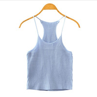 Women Summer Knitted Bustier Crop Top Sexy Strappy Sleeveless Stretch Casual Cropped Beach Tank Camis Tops New Clothes 9 Colors
