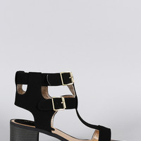 Qupid Nubuck Buckle Strappy Open Toe Heel