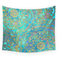 Society6 Sapphire & Jade Stained Glass Mandalas Wall Tapestry