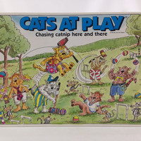 Cats At Play Board Game 6 years and Older 2 to 6 Players Cat Responsibilities Board Game about Cats Kid Games Family Game Night