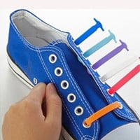 16Pc/Set Fashion Unisex Women Men Athletic Running No Tie Shoelaces Elastic Silicone Shoe Lace All Sneakers Fit Strap