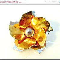 CIJ sale Flower Brooch pendant of mixed metals gold tone and silver tone