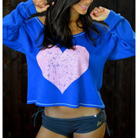 FASHION HEART-SHAPED PRINTED LONG-SLEEVED T-SHIRT