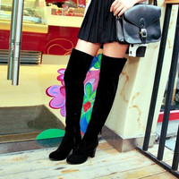 Over The Knee High Heels Round Toe Boots