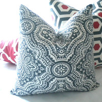 Designer Charcoal print pillow cover 18 x 18 - Toss pillow cover, throw pillow cover