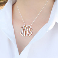 Monogram necklace,1 inch sterling silver necklace,initials necklace,Personalized Christmas gifts
