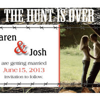 Set of 50  Mossy or Snow or Max4 Camo Hunting Wedding invitations or save the dates & envelopes