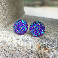 Earrings Purple Prism Stud Earrings Boho Jewelry Purple 12MM