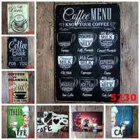 20X30 cm/ coffee menu espresso latte capuccino antique retro metal tin signs Iron painting crafts vintage home wall decoration