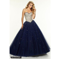 Navy Blue Prom Dresses 2016 Beading and Crystal Ball gown Style Long Sweetheart Bandage Party Gowns vestidos de festa