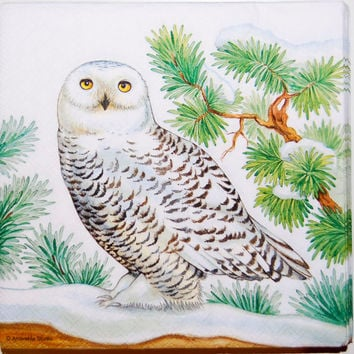 Decoupage Snowy Owl Napkin - 4 LargePaper Napkins for Decoupage, Collage, Scrapbooking and Paper Craft Projects