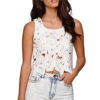 LA Hearts All Over Floral Crochet Tank - Womens Shirts -