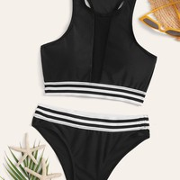 Striped Trim Racerback Top With Panty Bikini Set