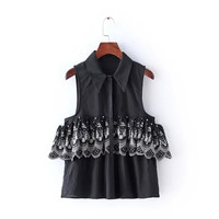 Floral Embroidery Turn-Down Collar Sleeveless Blouse