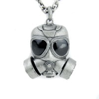 Black Ops Gas Mask Necklace Cyber Industrial Bio Hazard Pendant