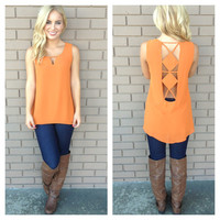 Rust Double Diamond Sleeveless Blouse