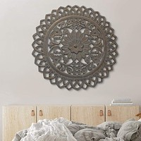 36 Inch Handcarved Wooden Round Wall Art with Floral Carving, Distressed Brown By The Urban Port