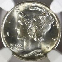 1943 Silver Coin, NGc Ms 66 FB, WW 2 Liberty Head Mercury Silver Uncirculated, Silver Dime,NgC Graded 10 Cent Silver Coin, UNC Silver Coin