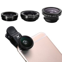 OLDSHARK® Universal Clip-on 3 in 1 Fish Eye Lens + Wide Angle + Micro Lens Kit for iPhone 4 4S 4G 5 5G 5S Samsung Galaxy S3 i9300 S4 i9500 Cellphone Black:Amazon