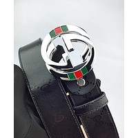 GUCCI hot selling embossed multicolored belt fashion men's and women's casual belt #2