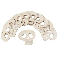 10pcs Wooden Embellishments Halloween Decoration Skull Pattern Pendant With Hemp Ropes