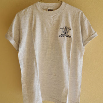 Kennedy Space Center Tee Gray Overiszed Vintage 90s L