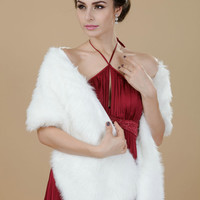 Nerolucas Women's Square Sleeveless White Faux FurWedding/ Party/ Evening Shawls, Faux Fur Stole, Bridesmaid capelets