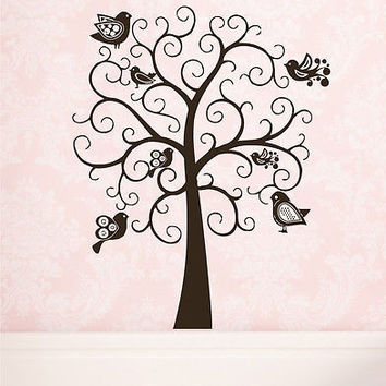 Tree Wall Decals Birds Decal Vinyl Stickers Kids Room Nursery Home Decor DS375