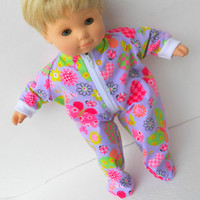 Bitty Baby Pajamas Doll Clothes Purple Lavender Heart Butterfly Print Zip Up Flannel Feetie Pjs Sleeper