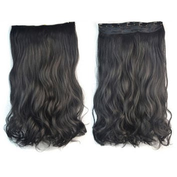Thick Hair Extension Long Curled Hair 5 Cards Wig black