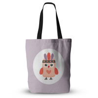 """Daisy Beatrice """"Hipster Owlet"""" Purple Everything Tote Bag"""