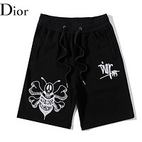 Dior Summer New Fashion Embroidery Letter Bee Women Men Shorts Black