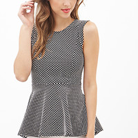 FOREVER 21 Dotted Lace Peplum Top Black/White