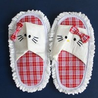 Hello Kitty House Keeping Dust Floor Cleaner /Mop Slippers Shoes