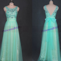Cheap long mint tulle prom dresses with bow,2014 beaded gowns for homecoming party,chic bridesmaid dress for women hot.