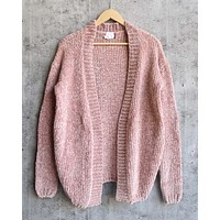 Cara Open Front Velvet Chenille Cardigan with Front Pocket in Canyon Rose