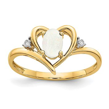 14K Yellow Gold Opal and Real Diamond Heart Ring