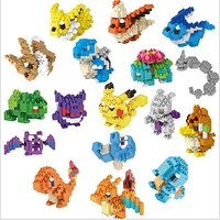 20 style Pocket Monster Building Blocks Action Figures toys Pikachu Squirtle Mewtwo Eevee Model Blocks Toys for children gifts
