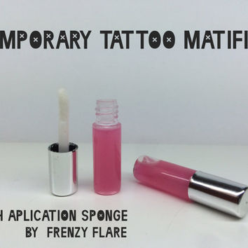 Liquiskin. Temporary Tattoo Mattifier. Apply for realistic tattoo effect. Formulated for film and tv shoots